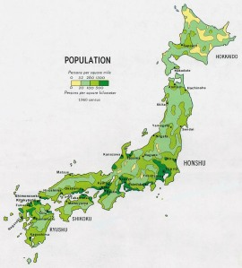 (Japans Population Distrobution: Image via lib.utexas.edu)